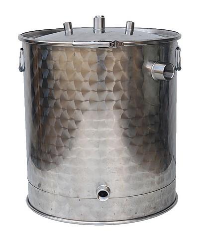 Modèle de cuve avec couvercle, joint, cerclage, trois piquages sur le couvercle et deux piquages latéraux (dont un dédié au vidage)
