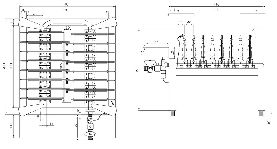 Dimensions du bruleur 31 kW