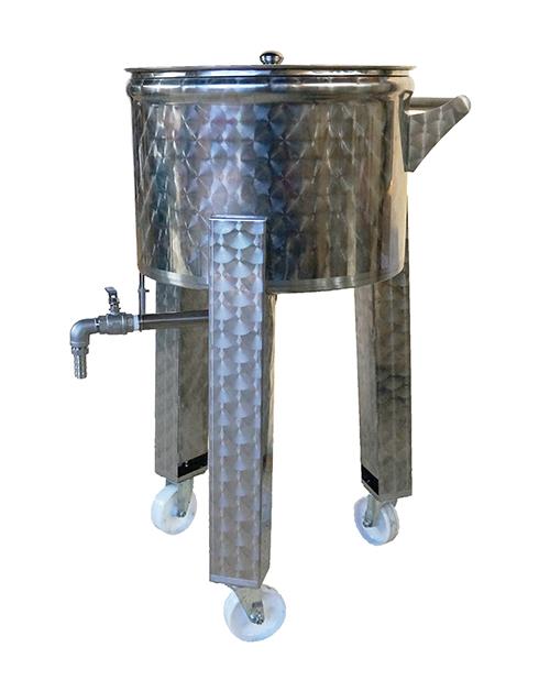 Cuve inox mobile sur pieds avec roulettes, robinet et vanne