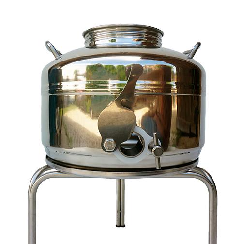 Fut inox stockage miel avec trépied inox, ouverture vanne