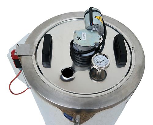 Couvercle de la cuve inox avec mélangeur, thermomètre et poignées
