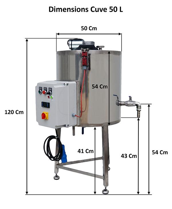 Dimensions cuveDimensions cuve 50 litres avec mélangeur
