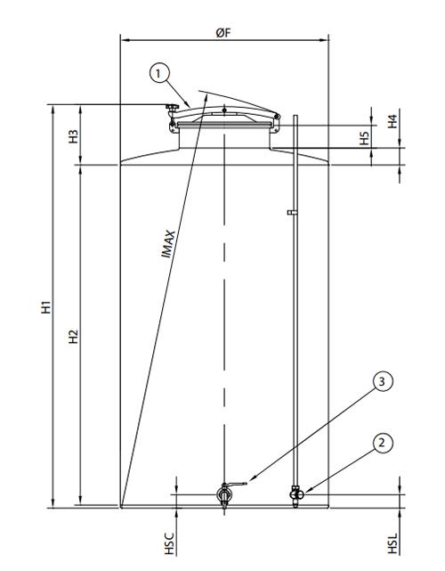Schéma technique dimensions cuve